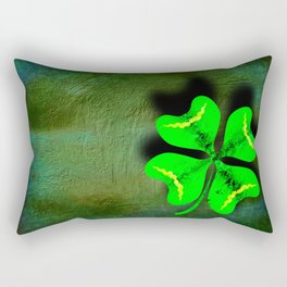 Four Leaf Clover on Green Textured Background Rectangular Pillow