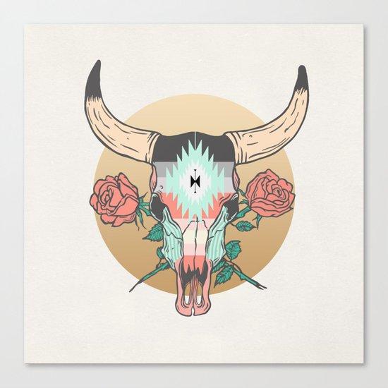 cráneo de vaca Canvas Print