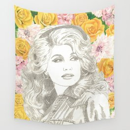 Jolene with Yellow Roses Wall Tapestry