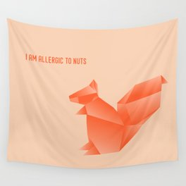 Allergic to Nuts - Origami Orange Squirrel Wall Tapestry