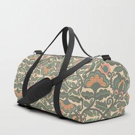 Green Vines Folk Art Flowers Pattern Duffle Bag