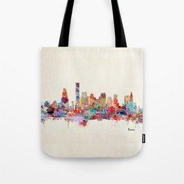 Boston city watercolor Tote Bag