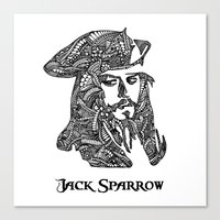 jack sparrow Canvas Prints featuring Captain Jack Sparrow by christoph_loves_drawing