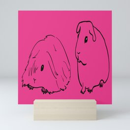 Guinea Pigs - American and Silkie With Hot Pink Background Mini Art Print
