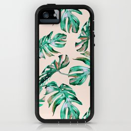 Tropical Palm Leaves Coral Greenery iPhone Case