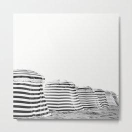 Beach Stripes - Minimalist Black and White Photography Metal Print