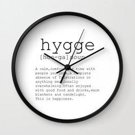 Hygge definition, romantic, dictionary art print, office decor, minimalist poster, funny Wall Clock