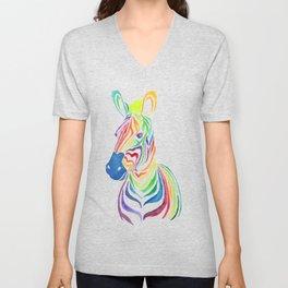 Watercolor Rainbow Zebra in Bold Unisex V-Neck