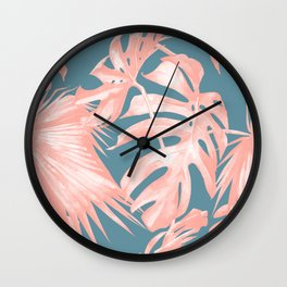 Island Love Millennial Pink on Teal Blue Wall Clock