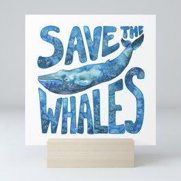 Save the Whales - Blue Whale Artwork Mini Art Print