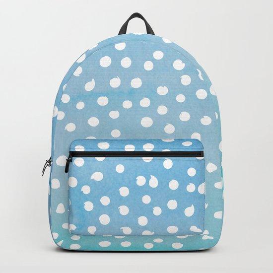 White Dots Polkadots on Aqua Teal Background - Mix & Match Backpack