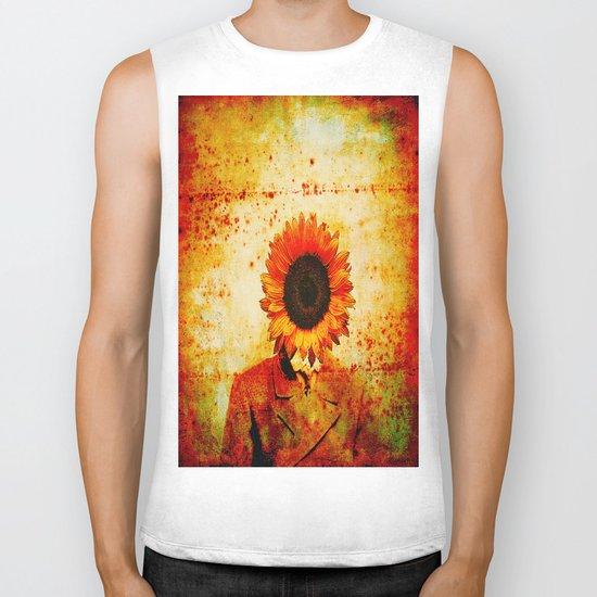 Head of sunflower Biker Tank