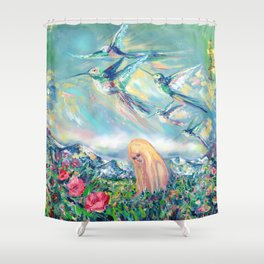 Alpine hummingbirds Shower Curtain