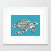 sea turtle Framed Art Prints featuring Sea Turtle by Rachel Russell
