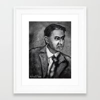 sagan Framed Art Prints featuring Carl Sagan by Wesley S Abney