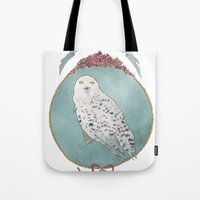 hedwig Tote Bags featuring RIP Hedwig by 366Sketchbook