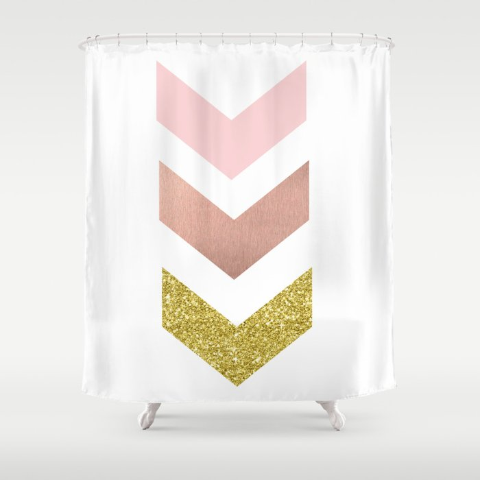 Rose Gold Chevron Shower Curtain By Peggieprints