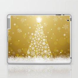 Gold Snowflakes Sparkling Christmas Tree Laptop & iPad Skin