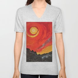 The eternal firey Sun Unisex V-Neck