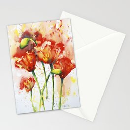 """""""Lush Red Spring Poppies"""" Original Painting by Doreen Koch Allen Stationery Cards"""