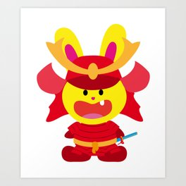 One Tooth Rabbit Samurai Honor Art Print