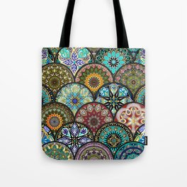 Colorful floral seamless pattern from circles with mandala in patchwork boho chic style Tote Bag