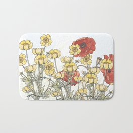 Buttercup and poppy watercolour Bath Mat
