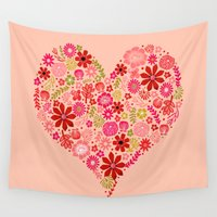 valentines Wall Tapestries featuring Valentines - Floral Heart by Andrea Lauren Design
