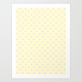 Pink Lace on Cream Yellow Stars Art Print