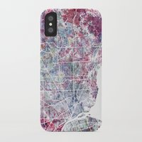 detroit iPhone & iPod Cases featuring Detroit map by MapMapMaps.Watercolors