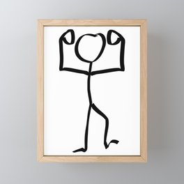 Stickman Figure Winner Illustration, One Line Drawing Figure, Success Symbol,  Framed Mini Art Print
