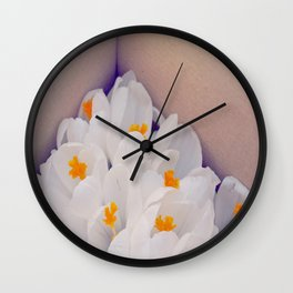 White blossoms Wall Clock
