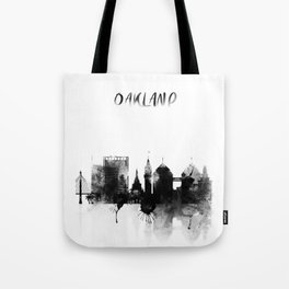 Oakland Black and White Skyline poster Tote Bag