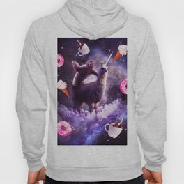 Outer Space Sloth Riding Llama Unicorn - Donut Hoody