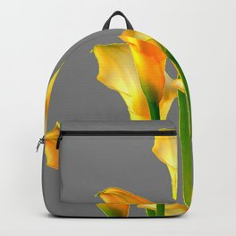 DECORATIVE GOLDEN CALLA LILY FLOWERS ON GREY ART Backpack