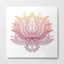 Botanical Lotus - Autumn Ombre Metal Print
