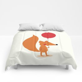 Fox With A Red Balloon Comforters