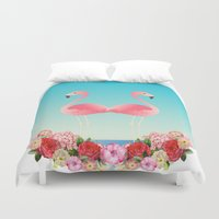 flamingos Duvet Covers featuring Flamingos by Juliana Zimmermann