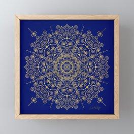 Moroccan Mandala – Gold Ink on Navy Framed Mini Art Print