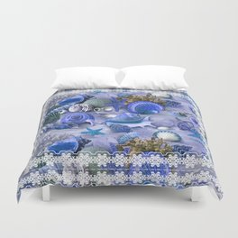 Healing Seashells With Lace  Duvet Cover