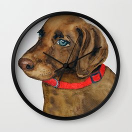 Chocolate Lab Puppy Wall Clock
