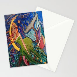La charmeuse au clair de lune Stationery Cards