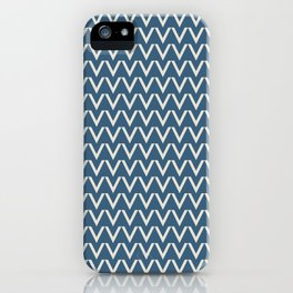 Linen White V Chevron Pattern on Blue Pair To 2020 Color of the Year Chinese Porcelain PPG1160-6 iPhone Case