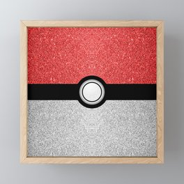 Sparkly red and silver sparkles poke ball Framed Mini Art Print