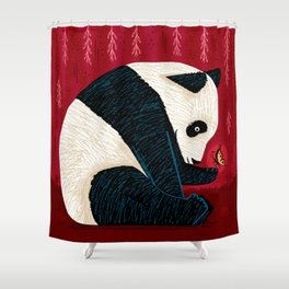 The Panda and the Butterfly Shower Curtain
