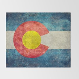 Colorado State Flag in Vintage Grunge Throw Blanket