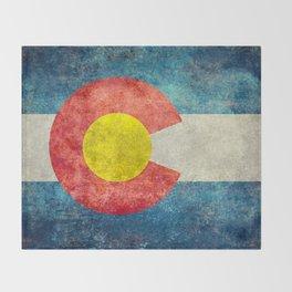 Colorado State Flag in Vintage Grunge Throw Blanket