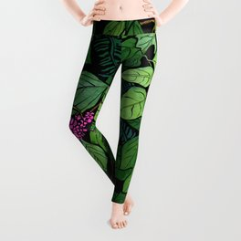Green and Purple Beautyberry Illustration Leggings