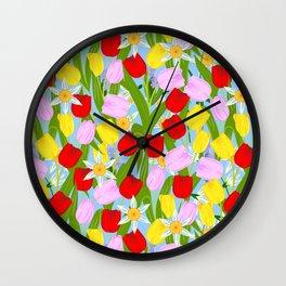 bright spring flowers Wall Clock