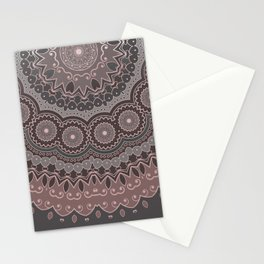 Mandala Spirit, Rose Pink, Gray Stationery Cards